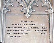 Kettle, Esmonde, WWI Memorial, House of Commons