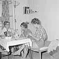 Kibboets Nir Elyahu Kibboetsbewoonsters gezellig bijeen bij een pot thee terwi…, Bestanddeelnr 255-3724.jpg