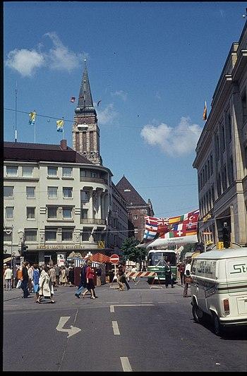 Blick durch die Fleethörn zum Rathausturm (1979)