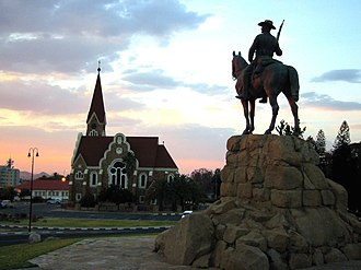 Namibia - German church and monument to colonists in Windhoek, Namibia.