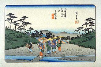 Kusatsu-juku - Hiroshige's print of Kusatsu-juku, part of the Sixty-nine Stations of the Kiso Kaidō series