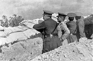 Battlefield - Field Marshal Lord Kitchener and Lieutenant-General William Birdwood viewing the Anzac battlefield from Russell's Top during the Battle of Gallipoli, 15 November 1915.