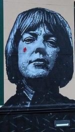 Ingeborg Bachmann: Graffito von Jef Aerosol am Musilhaus in Klagenfurt