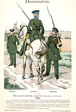 A drawing of three soldiers in green uniforms. One soldiers is riding a horse.