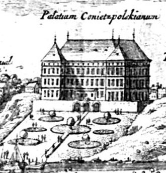 Presidential Palace, Warsaw - Koniecpolski Palace in 1656; it was burned down during the Deluge