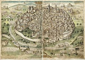 History of Jerusalem during the Middle Ages - View of Jerusalem (Conrad Grünenberg, 1487)