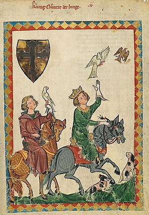 Medieval hunting - A portrait of Conradin hawking, from the Codex Manesse (Folio 7r).