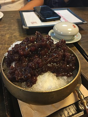 Patbingsu - Image: Korean shaved ice Patbingsu A01