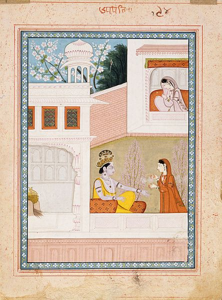 File:Krishna Talks to Radha's Maidservant, Folio from a Satsai (Seven Hundred Verses) of Bihari Lal LACMA AC1999.127.5.jpg