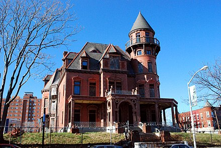 The Krueger-Scott Mansion, owned by African-American beauty entrepreneur Louise Scott, Newark's first female millionaire Krueger Scott Mansion2.jpg