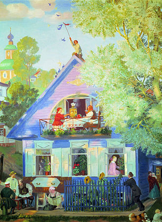 Boris Kustodiev - Blue House (1920).