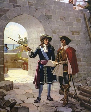 Fort Frontenac - Depiction of La Salle inspecting the construction of Fort Frontenac, 1676. Painting by John David Kelly.