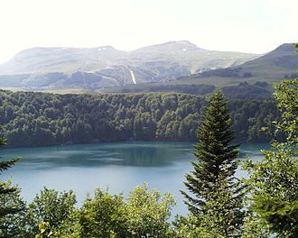 Meromictic lake - Lac Pavin in France is a meromictic crater lake