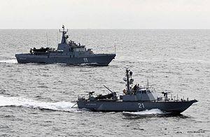 "Slovenian Armed Forces - 10412 class patrol boat ""Triglav"" with Super Dvora Mk II-class patrol boat ""Ankaran""."
