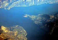 Aerial view of the juncture between the three arms of Lake Como