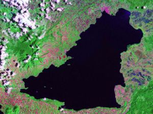 Lanao del Sur - Satellite view of Lanao Lake, situated entirely within the province
