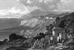 Rex Nemorensis - Ruins by the shores of Lake Nemi, in an 1831 engraving