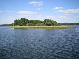 Ukrani - Burgwallinsel, a former Ukrani burgh on an isle in Lake Oberuckersee