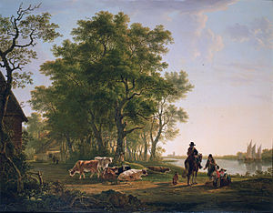 Dordrechts Museum - Image: Landscape with trees and cattle, Dordrecht in the background, by Jacob van Strij