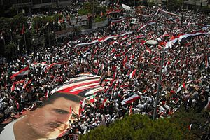 Syrian Civil War - Pro-Assad demonstration in Latakia, June 2011