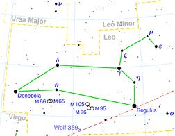 Souhvězdí Lva s hvězdou Wolf 359