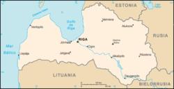 Mapa de Letonia.
