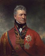 Painting shows a stern-looking man wearing an elaborate red military uniform with two large awards pinned to his breast.