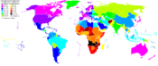 World map showing life expectancy