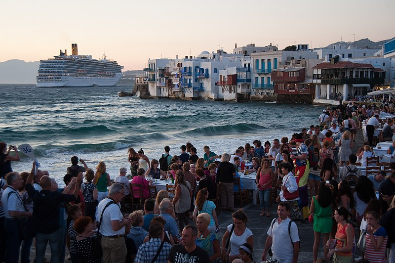 File:Little Venice quay flooded with tourists. Mykonos island. Cyclades, Agean Sea, Greece.jpg