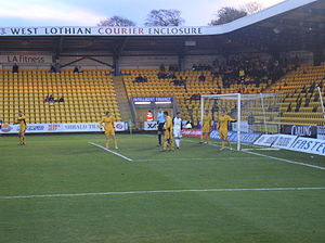Livingston F.C. - Livingston defend a corner from the now defunct Gretna at Almondvale Stadium in 2007.