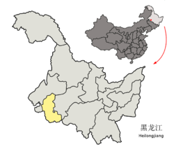 Location of Daqing City in Heilongjiang