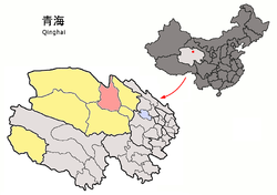 Location of Delingha City (red) within Haixi Prefecture (yellow) and Qinghai