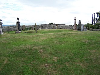 Lossiemouth - The raised ground within Kinneddar Cemetery (the Aul Cimetry) where the kirk stood, and where the Stotfield and Covesea fishermen were rebuked