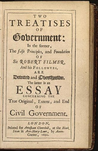 "Right to property - John Locke's 1689 Two Treatises of Government, in it Locke calles ""lives, liberties and estates"" the ""property"" of individuals."