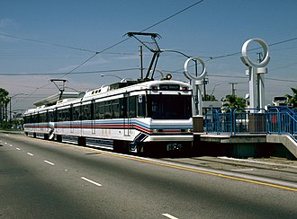 Pacific Coast Highway station (Blue Line) - Southbound train at Pacific Coast Highway in the 1990s