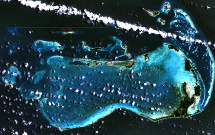 Los Roques Archipelago in Venezuela, the largest marine National Park in Latin America, from space. Courtesy NASA. Los Roques.png