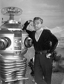 Lost in Space Jonathan Harris & Robot 1967.jpg