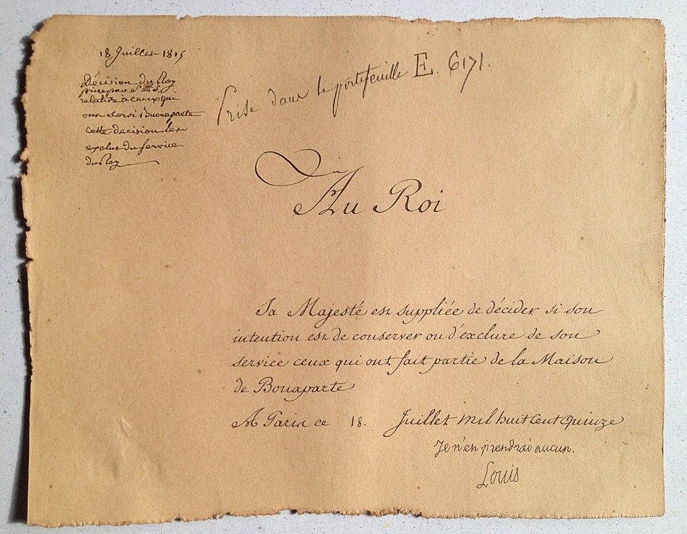 Louis XVIII - Memoire au roi concernant les adhérents de la maison de Bonaparte dans le service du roi - 1815