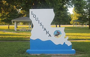 Louisiana - Louisiana entrance sign off Interstate 20 in Madison Parish east of Tallulah