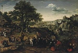 Lucas van Valckenborch - Landscape with a Rural Festival