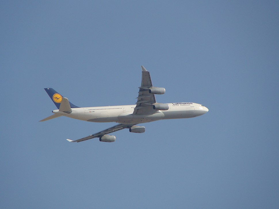 Lufthansa - Airbus A340 (D-AIFC) at Cairo International Airport (April 2009).jpeg
