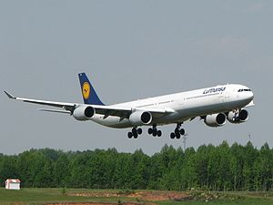 Charlotte Douglas International Airport - Lufthansa Airbus A340-600 on final approach to runway 18C