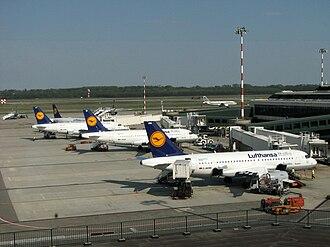 Lufthansa Italia - Four Lufthansa Italia Airbus A319-100's at their homebase at Milan–Malpensa Airport in 2009