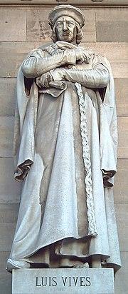 Estàtua de Joan Lluís Vives a Madrid, per Pere Carbonell i Huguet (1892).