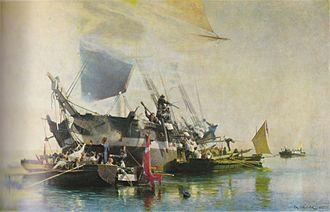 Christian Mølsted - Image: Mølsted Engelsk brig angribes af dansk norske kanonbåde 1896