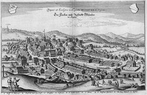 Beromünster - Münster im Aargau in 1654, by Matthäus Merian the Younger
