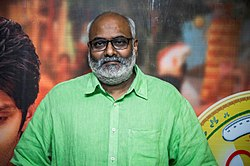 M. M. Keeravani at Inji Iduppazhagi Audio Launch.jpg