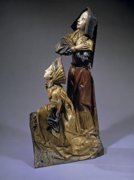 Geknielde Maria Magdalena en staande vrouw, beiden wenend omhoog kijkend, Brussel ca. 1475, Catharijneconvent, Utrecht