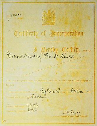 Moscow Narodny Bank Limited - Certificate of Incorporation of MNB as an English company