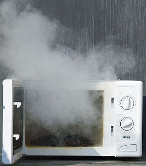 English: Putting raisins in a microwave oven p...